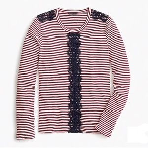 J. CREW long sleeve striped t shirt with lace
